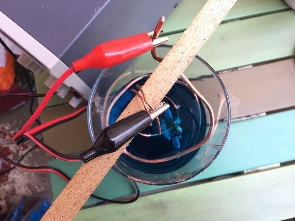 wire attachment copper electroforming