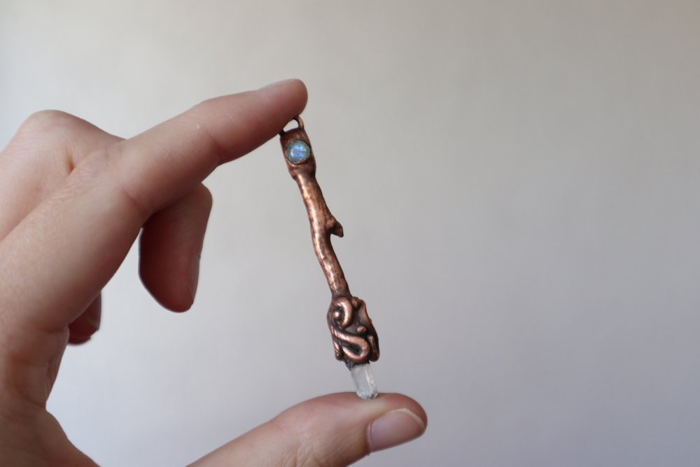 copper electroformed wand after patina