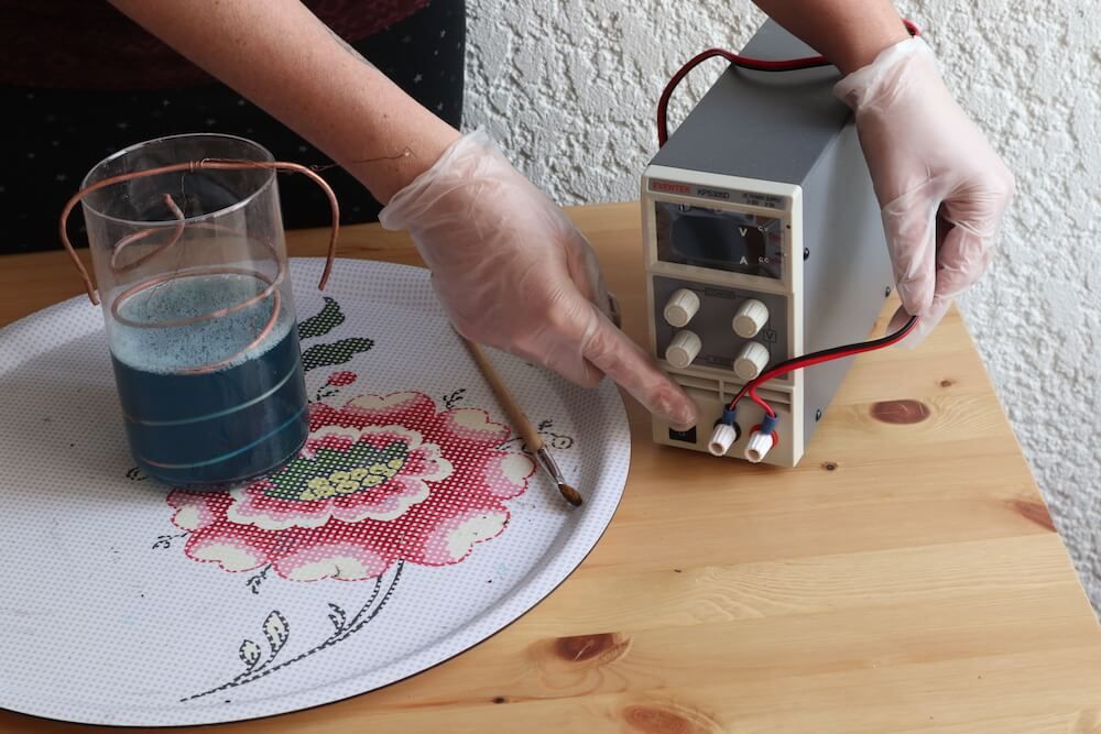 pluging wires in rectifier for electroforming bath