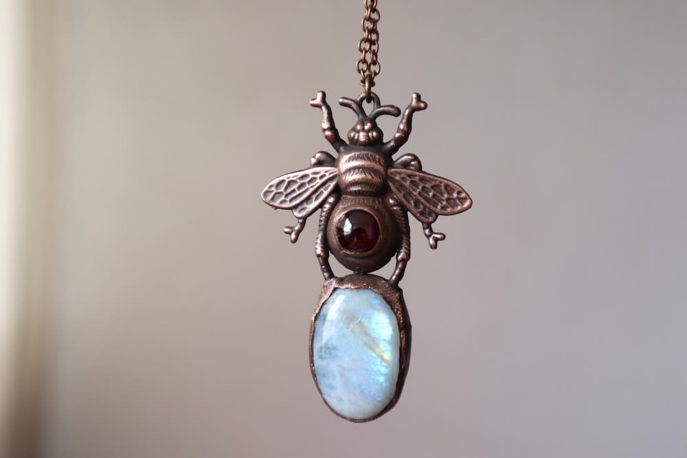 copper electroformed bee with moonstone
