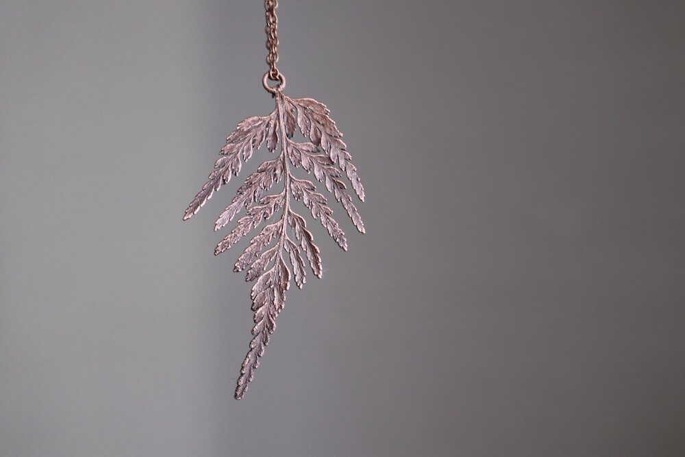 copper electroformed fern leaf