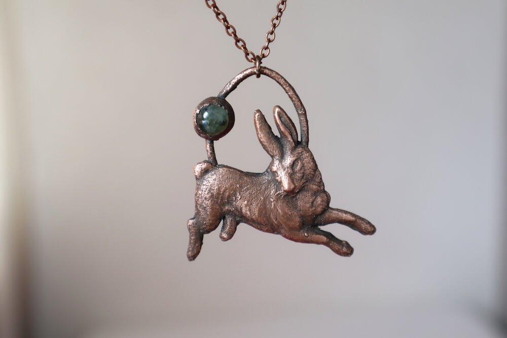 copper electroformed rabbit with prehnite electroforming crystals