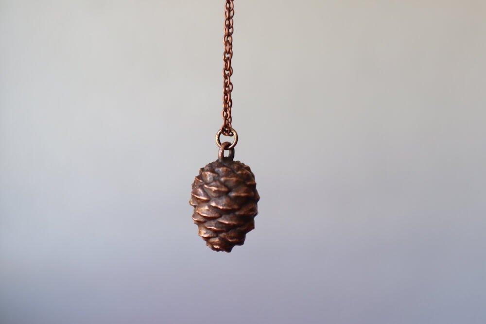 electroformed pine cone necklace